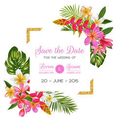 Wedding invitation template with flowers tropical vector