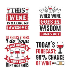 Wine quote and saying set vector