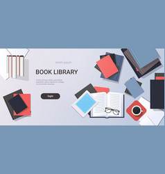 workplace desk textbooks e-book top angle view vector image