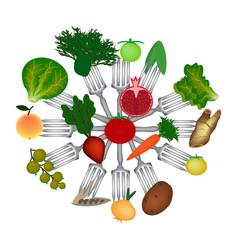 World vegan day fruits and vegetables on forks vector