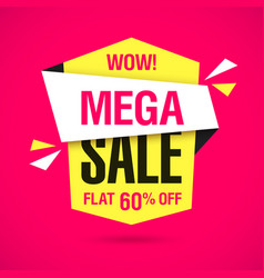 Wow mega sale banner vector