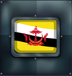 flag of brunei on metalic frame vector image