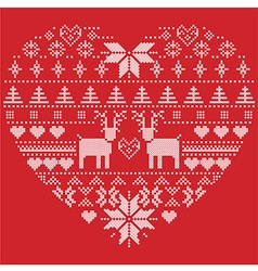 heart shape pattern with reindeers hearts xmas vector image