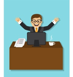 joyful businessman sitting behind a desk vector image vector image
