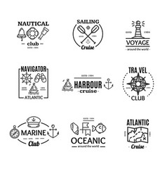 nautical emblem badges or labels line art set vector image vector image