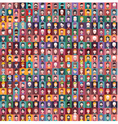 Set of people icons with faces vector