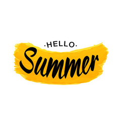 Black lettering hello summer - yellow grunge shape vector