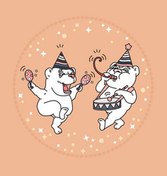 card with two cute bears in party hats vector image