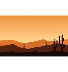Desert cactus silhouette and sunrise vector
