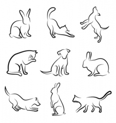 dog cat rabbit animal drawin vector image vector image