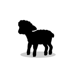 lamb sheep farm mammal black silhouette animal vector image vector image