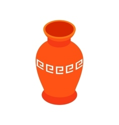 Red ancient vase icon isometric 3d style vector image