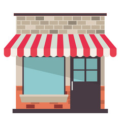 store facade with sunshade in colorful silhouette vector image