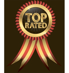 Top rated golden label with ribbons vector image vector image
