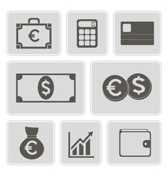 monochrome financial icons vector image