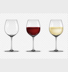realistic wineglass icon set - empty with vector image vector image