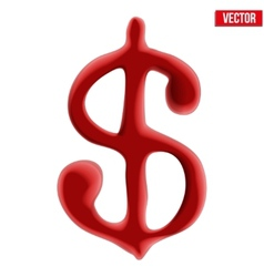 Red blood dollar sign on white background vector image