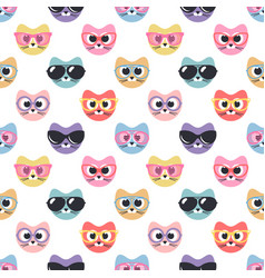 Seamless pattern with cute cats with sunglasses vector