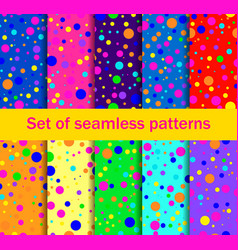 seamless patterns with colored circle vector image vector image
