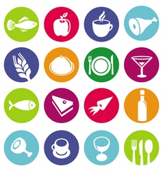set or restaurant icons and food vector image