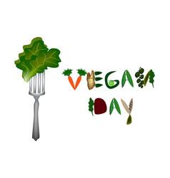 world vegan day inscription fruits and vegetables vector image