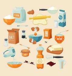 baking ingredients set vector image vector image