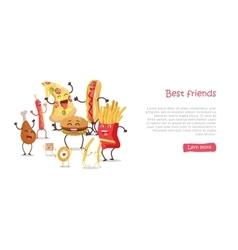 Best friends food banner vector