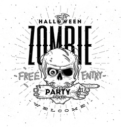 Halloween party poster with zombie head and hand vector image vector image
