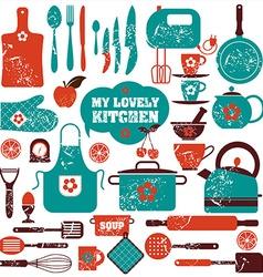 Kitchen set icons vector image