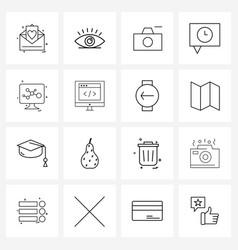 16 interface line icon set modern symbols on vector image