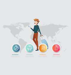 a man with smart phone and luggage on map vector image