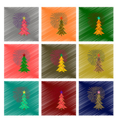 Assembly flat shading style christmas tree vector