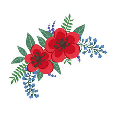 Beautiful bouquet with red flowers and leaves vector