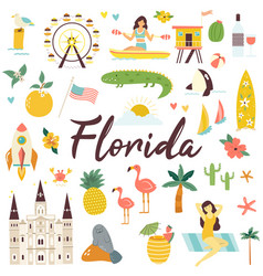 Big set florida icons symbols landmarks vector