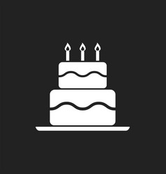 Birthday cake flat icon fresh pie muffin on black vector