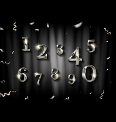 birthday silver numbers vector image