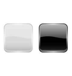 Black and white glass buttons web square 3d icons vector