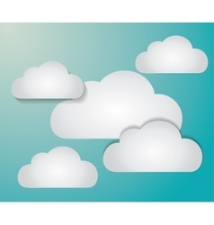 Blue and white background of clouds icon vector