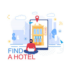 Booking hotel online service advertising poster vector