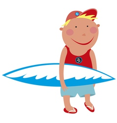 boy with a surfboard vector image