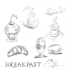 breakfast sketch vector image