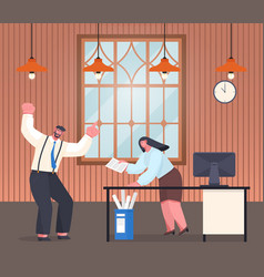 cartoon office characters nervous boss scolds vector image