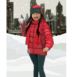 cartoon smiling girl with snow in hands vector image
