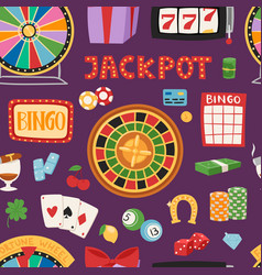 Casino game gambling symbols blackjack cards money vector