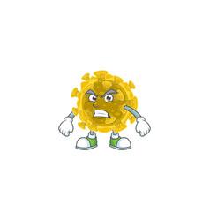 Charming infectious coronavirus mascot waving hand vector