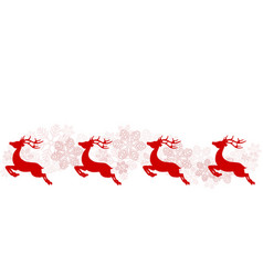 Christmas greeting poster with red reindeer and vector