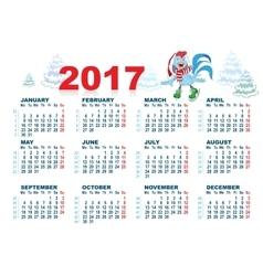 Christmas Santa Rooster symbol 2017 skates vector image