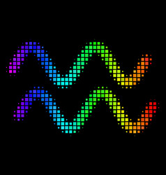 Colored dotted sinusoid waves icon vector