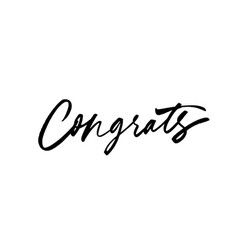 congrats hand drawn brush lettering vector image