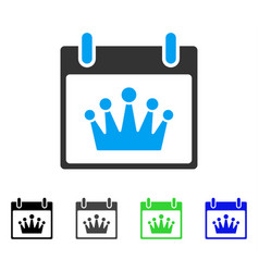Crown calendar day flat icon vector